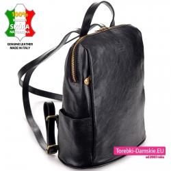 Elegancki, stylowy i pojemny skórzany czarny plecak damski