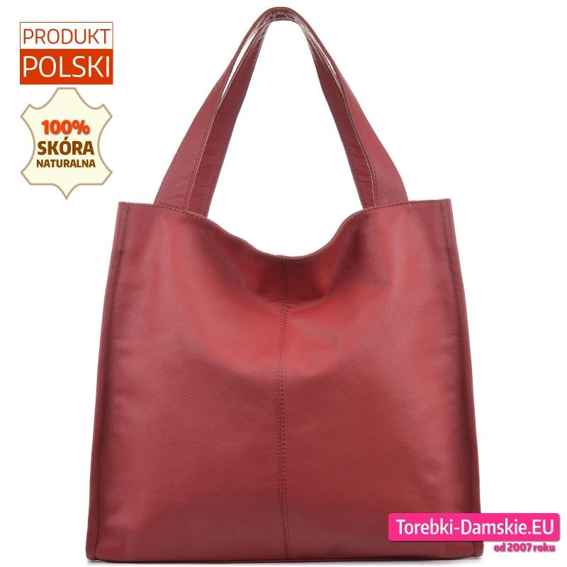 Bordowa torba shopper ze skóry - duży model na ramię w modnym fasonie