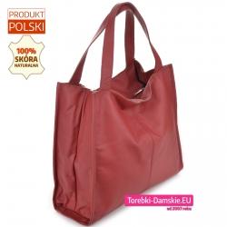 Polska duża torba z miękkiej skóry w kolorze bordowym w modnym fasonie