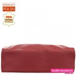 Skórzany shopper w kolorze bordo - płaski prostokątny spód