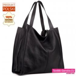 Funkcjonalna i pojemna czarna torba damska ze skóry duży model