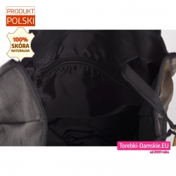 Skórzana torba damska mieszcząca A4 z przegrodą, kieszeniami, zamykana zamkiem błyskawicznym
