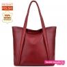 Skórzana bordowa torba na ramię - pojemny shopper - 199,00zł