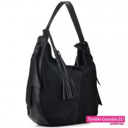 Elegancka miejska czarna torba z chwostem odpinanym z aksamitną powierzchnią