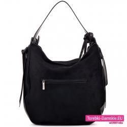 Czarna torba na ramię z kieszenią z tyłu