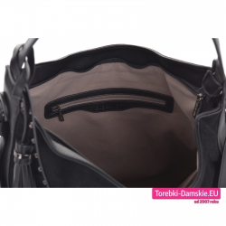 Welurowa torba damska czarna z przegrodą wewnętrzną