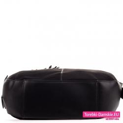 Torba z płaskim spodem - czarna, duży worek na ramię