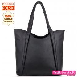 Czarna polska skórzana torba shopper