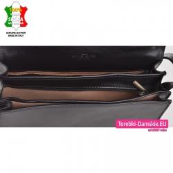 Czarna skórzana trójkomorowa pojemna torebka włoska