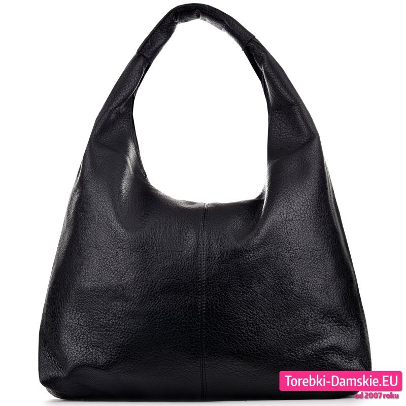 Duża torba na ramię w kolorze czarnym z miękkiej skóry eko