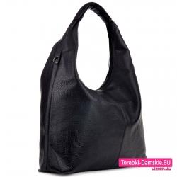 Pojemna czarna torba damska rozmiar XL na ramię