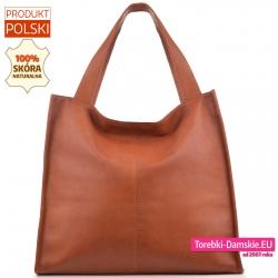 Shopper ze skóry w kolorze rudy koniakowy brąz - duża polska torba