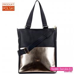 Czarno - złota torba damska shopper marki Conci