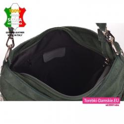 Skórzana zamykana suwakiem zielona torebka zamszowa z przegrodą wewnątrz