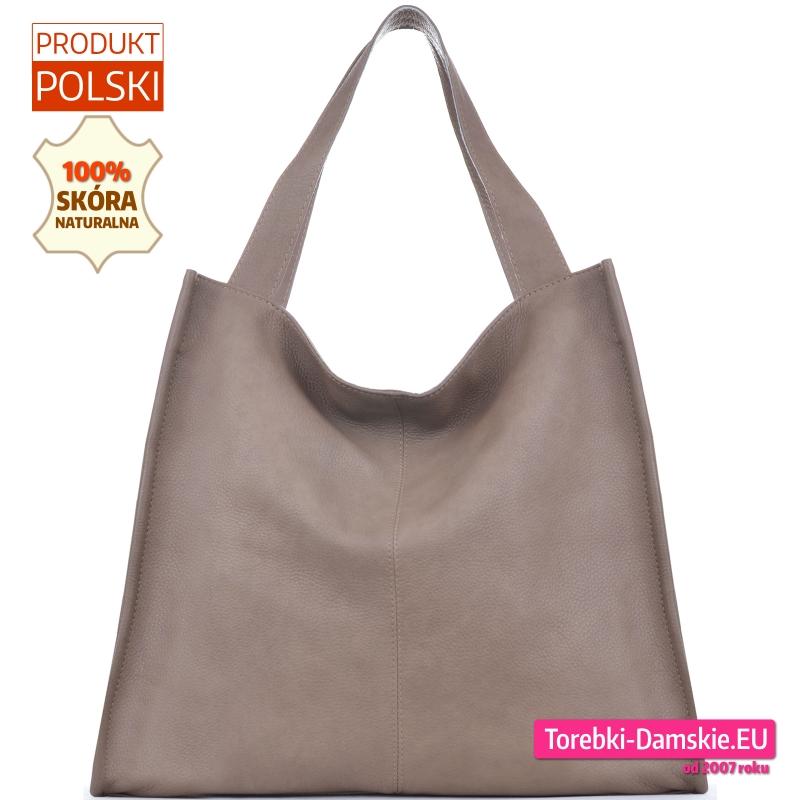 Beżowy shopper - duża polska skórzana torba w kolorze cappuccino