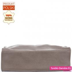 Pojemna beżowa torba ze skóry naturalnej