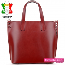 Duża bordowa skórzana torba produkcji włoskiej z zamykaną pionowym suwakiem kieszenią z przodu