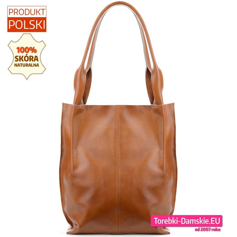 Duża miejska torba ze skóry w jasnym odcieniu brązu shopperbag na ramię