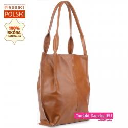Modna torba damska w jasnym odcieniu brązu - efektowny shopper