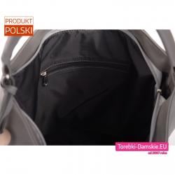 Duża pojemna szara polska torba damska z czarną podszewką zamknięcie szczelne zamkiem błyskawicznym