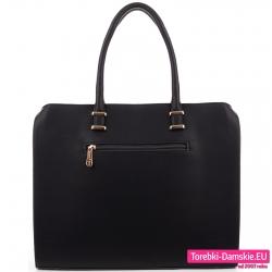 Czarna teczka - torba miejska z kieszenią z tyłu