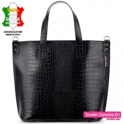 Efektowna czarna duża torba damska ze skóry naturalnej krokodyl