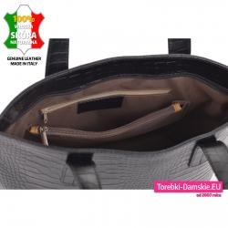 Skórzana torba A4 z dużą ilością kieszeni wewnątrz