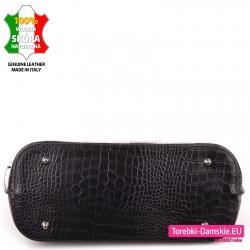 Duża czarna torba / teczka damska A4 z metalowymi stopkami
