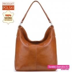 Polska torba ze skóry w jasnym modnym odcieniu brązu