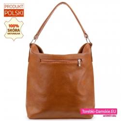 Skórzana torba z kieszenią z tyłu - ładny rudy odcień brązu