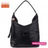 Duża czarna torba damska - stylowy worek z fakturowanym elementem z przodu - 119,00zł