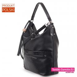 Efektowna czarna torba na ramię - polski stylowy worek z kieszonką z przodu