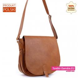 Skórzana torba damska XL - duża listonoszka jasnobrązowa