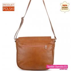 Pojemna torba damska ze skóry - listonoszka XL z kieszenią z tyłu