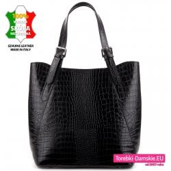 Czarna torba damska na ramię ze skóry krokodyla