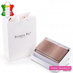 Beżowy portfel zestaw z pudełkiem i torebką na prezenty