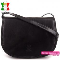Czarna torebka damska crossbody z klapą z luksusowej naturalnej skóry