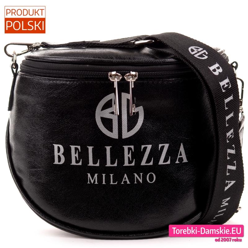 Czarna lekka torebka nerka z napisami nadrukowanymi