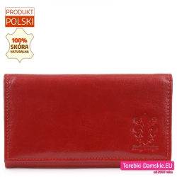 Czerwony skórzany portfel z biglem