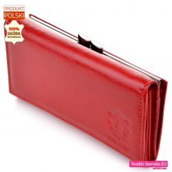 Polski tani czerwony portfel damski ze skóry