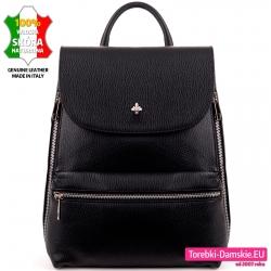 Elegancki skórzany czarny plecak damski
