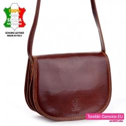 Piękna włoska skórzana torebka średniej wielkości w kolorze brązowym