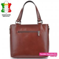 Skórzana brązowa torebka - kuferek z kieszenią z tyłu