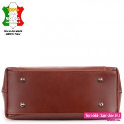 Skórzana torebka - kuferek do stawiania, kolor brązowy