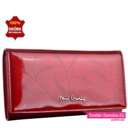 Czerwony duży lakierowany skórzany portfel damski