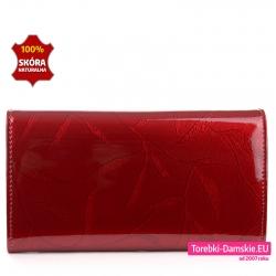 Oryginalny portfel damski ze skóry kolor czerwony