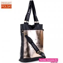Czarno - złota duża polska torba z nadrukami