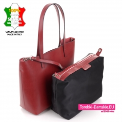 Włoska bordowa skórzana torebka z wyjmowanym zamykanym wkładem i paskiem dopinanym