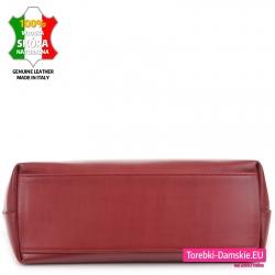Skórzana bordowa pojemna włoska torba z płaskim spodem usztywnionym