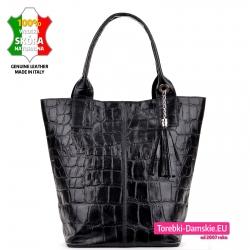 Duża czarna torba na ramię shopper skóra krokodyla / aligatora